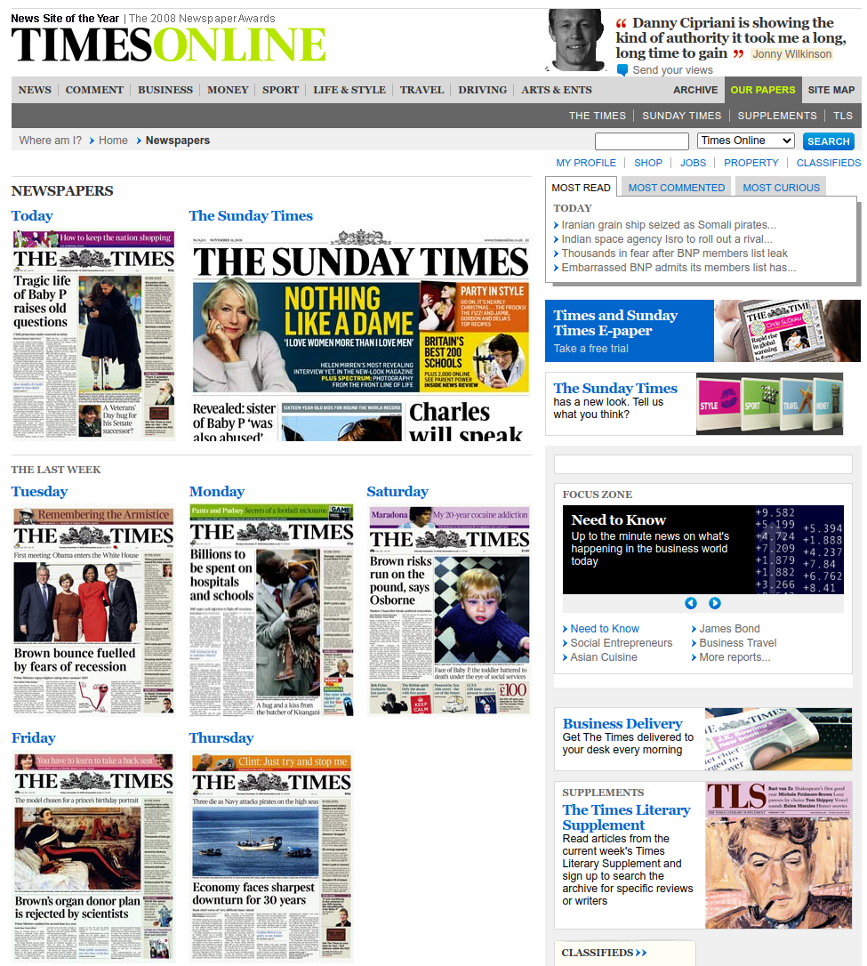 Web archive for The Times' website newspapers page