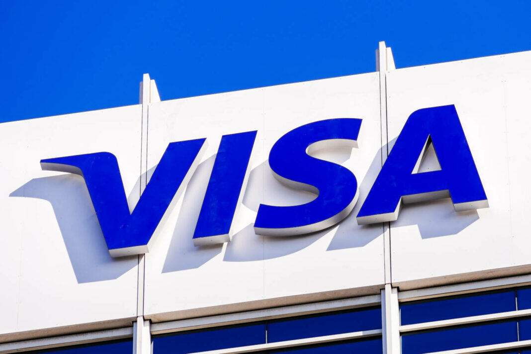VISA sign at their global headquarters in Silicon Valley