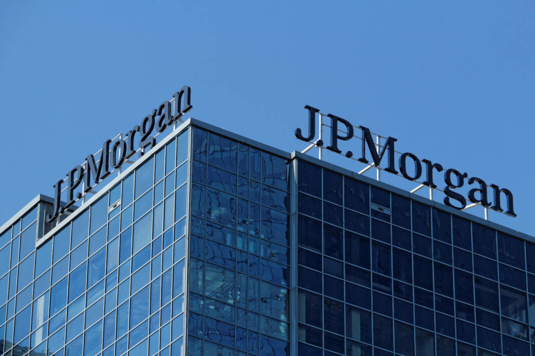 View of the two logos of J.P. Morgan