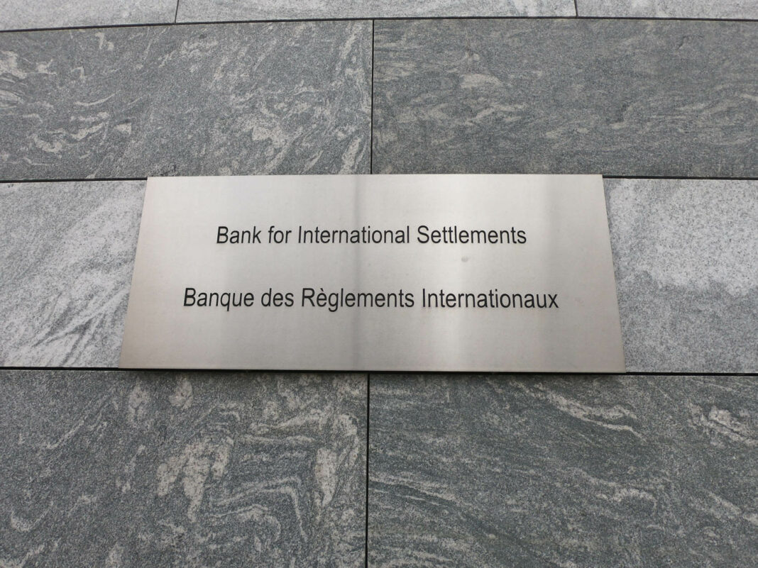 Sign with the name of the Bank for International Settlements in Basel, Switzerland