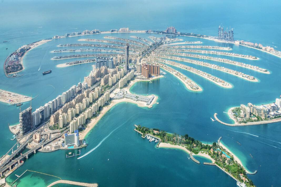Aerial view of Dubai Palm Jumeirah island in the United Arab Emirates