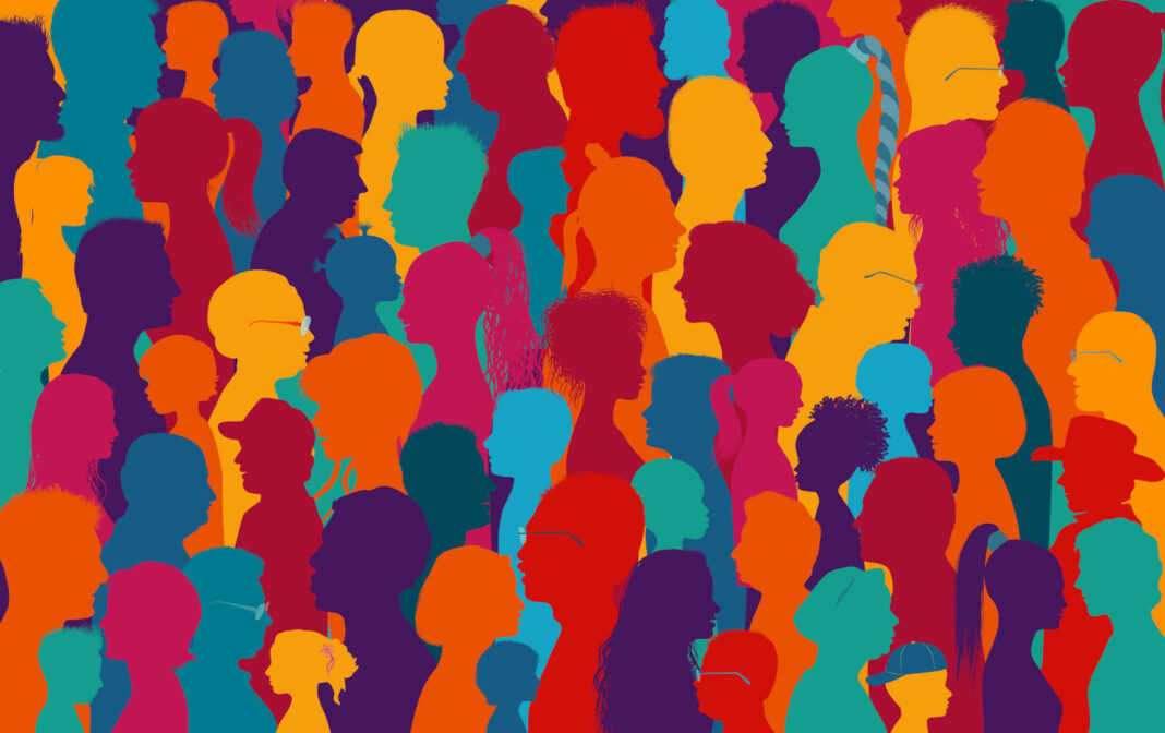 Crowd of people talking