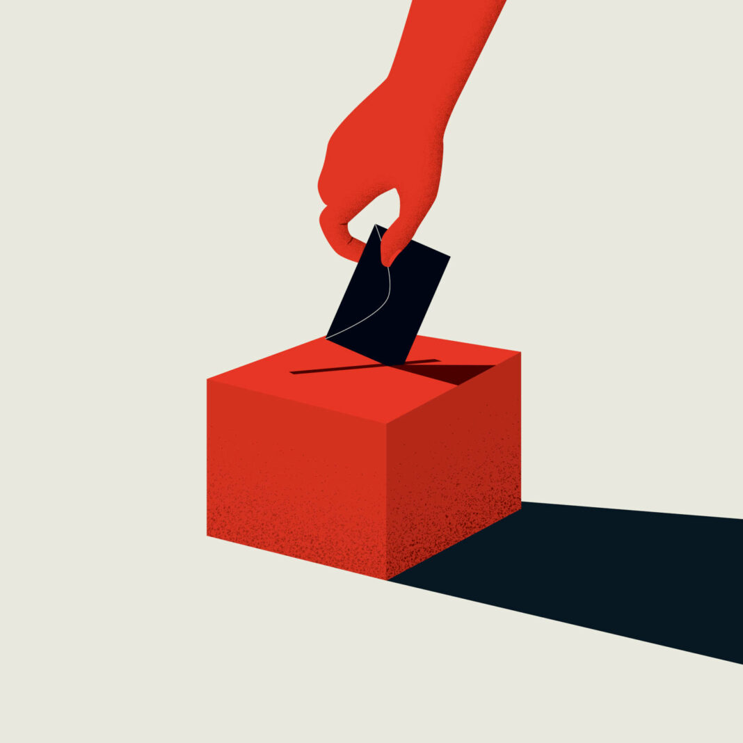 Hand casting ballot in a box illustration