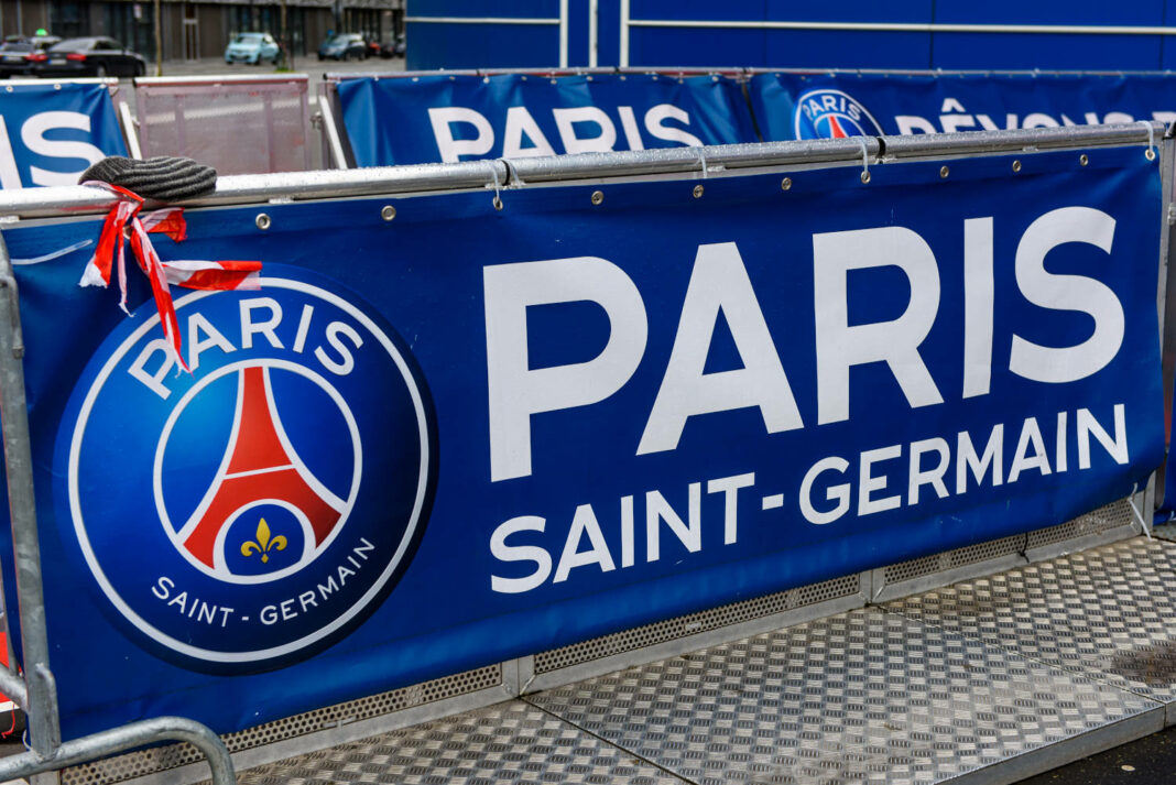 PSG Logo on a banner near the Parc des Princes stadium, the home pitch of the French Ligue 1 football club Paris Saint-Germain