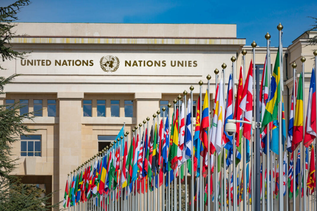 United Nations building and the nations' flags in Geneva, Switzerland