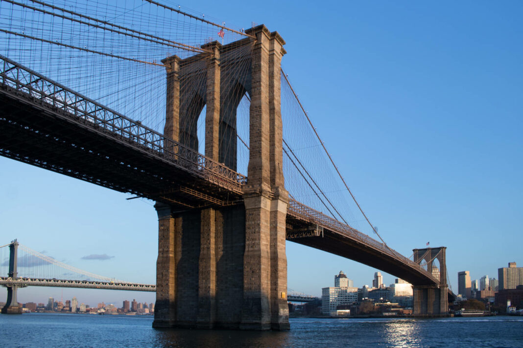 View of the Brooklyn Bridge from Lower East Side Manhattan