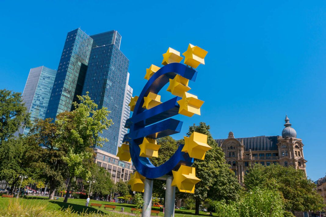 European Central Bank (ECB) sign in the financial district in Frankfurt