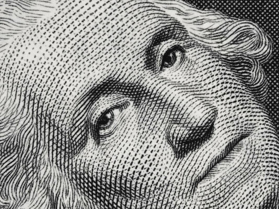George Washington face portrait on the US one dollar bill