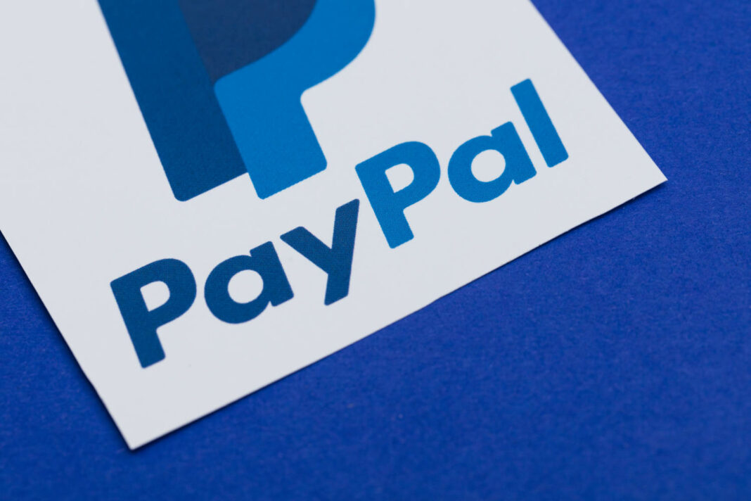 PayPal logo printed on paper