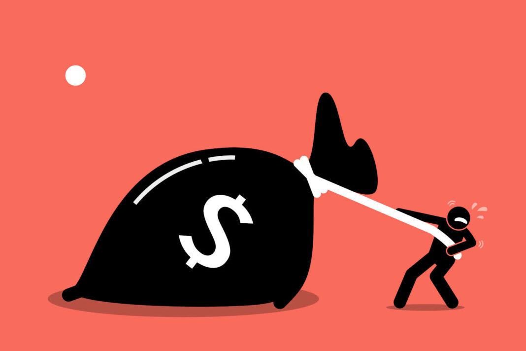 Man pulling bag of money illustration