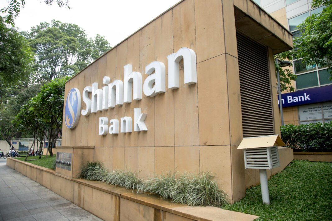 Shinhan bank sign at the city center