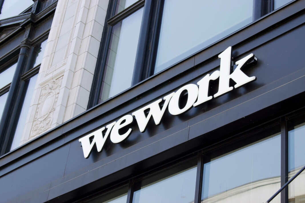 WeWork exterior sign in downtown Detroit