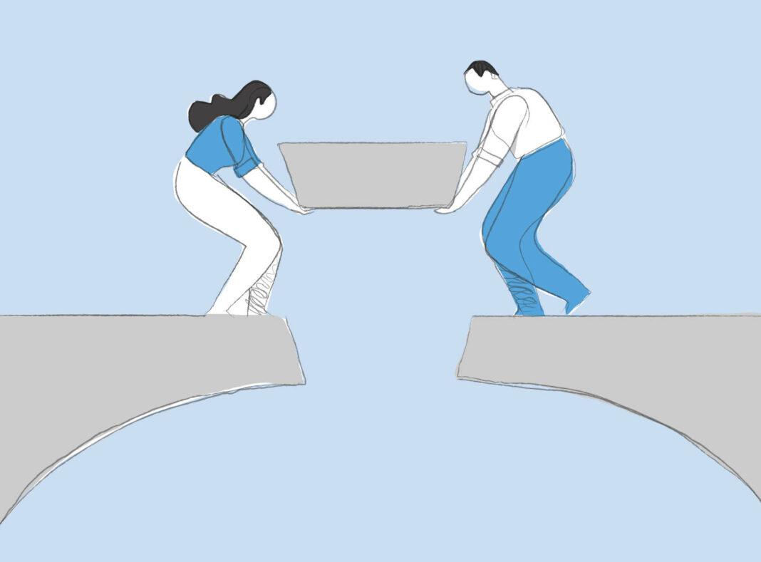 Man and woman building bridge