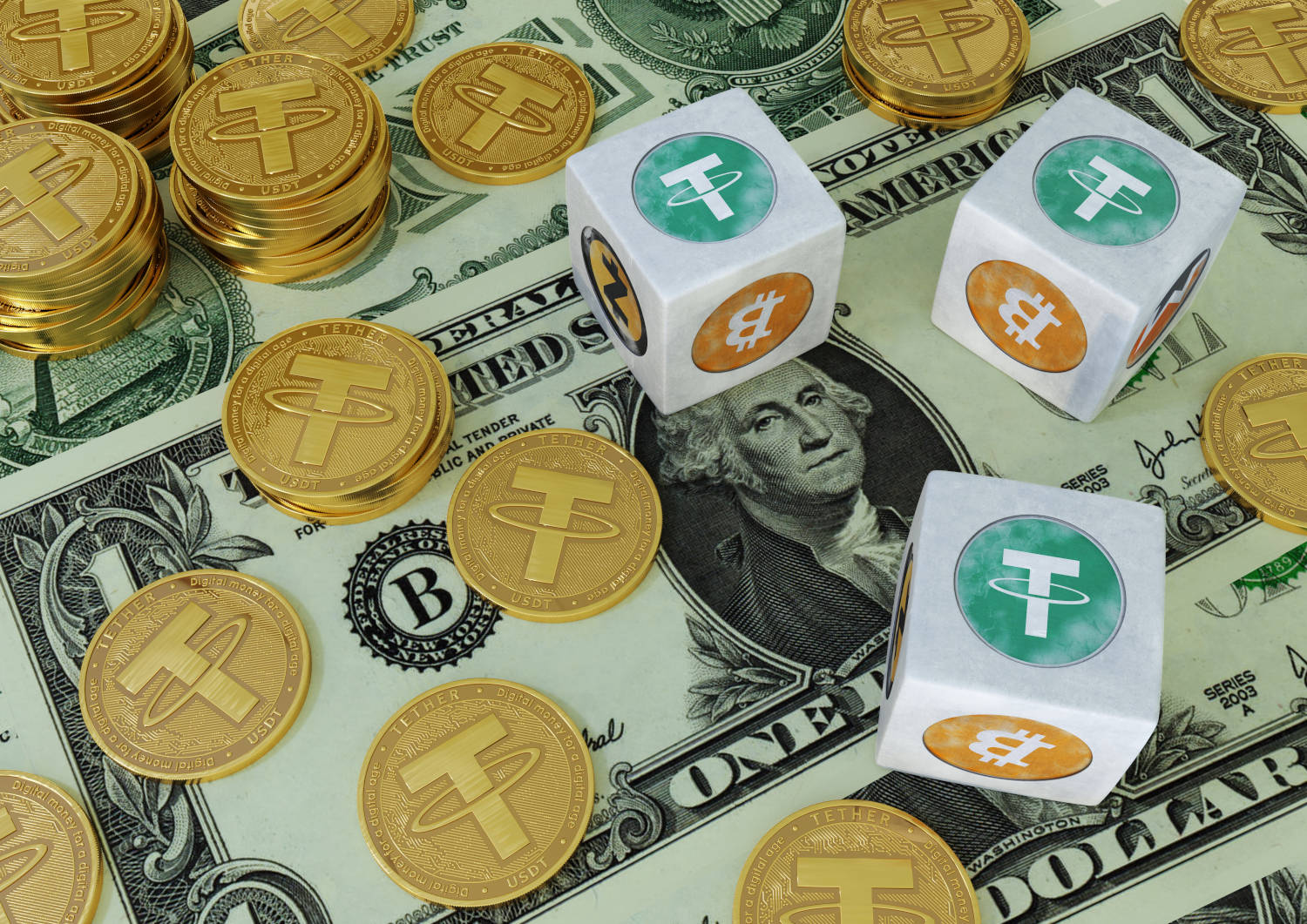 Tether coins and dices on dollar bills