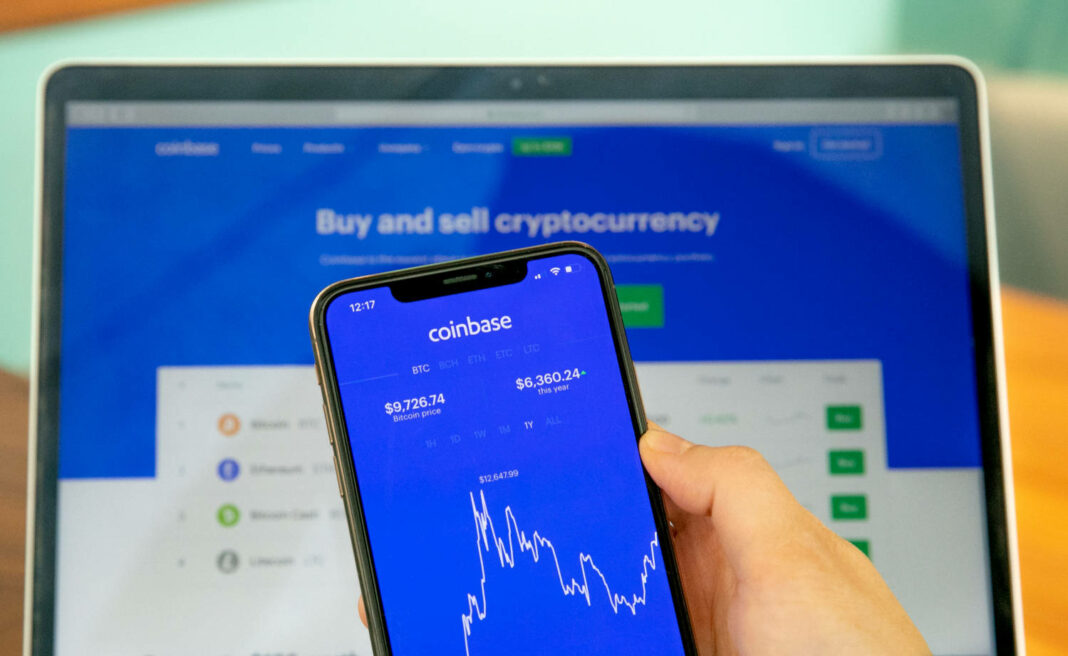 Coinbase app on mobile phone