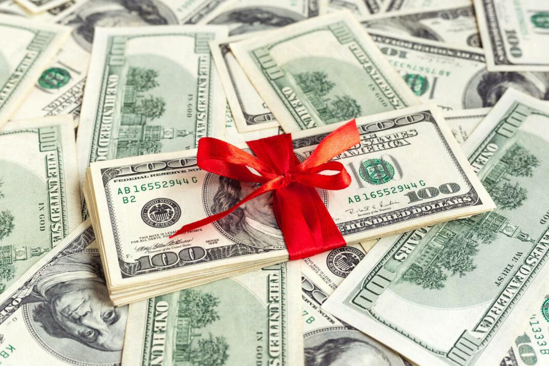 Dollars with ribbon