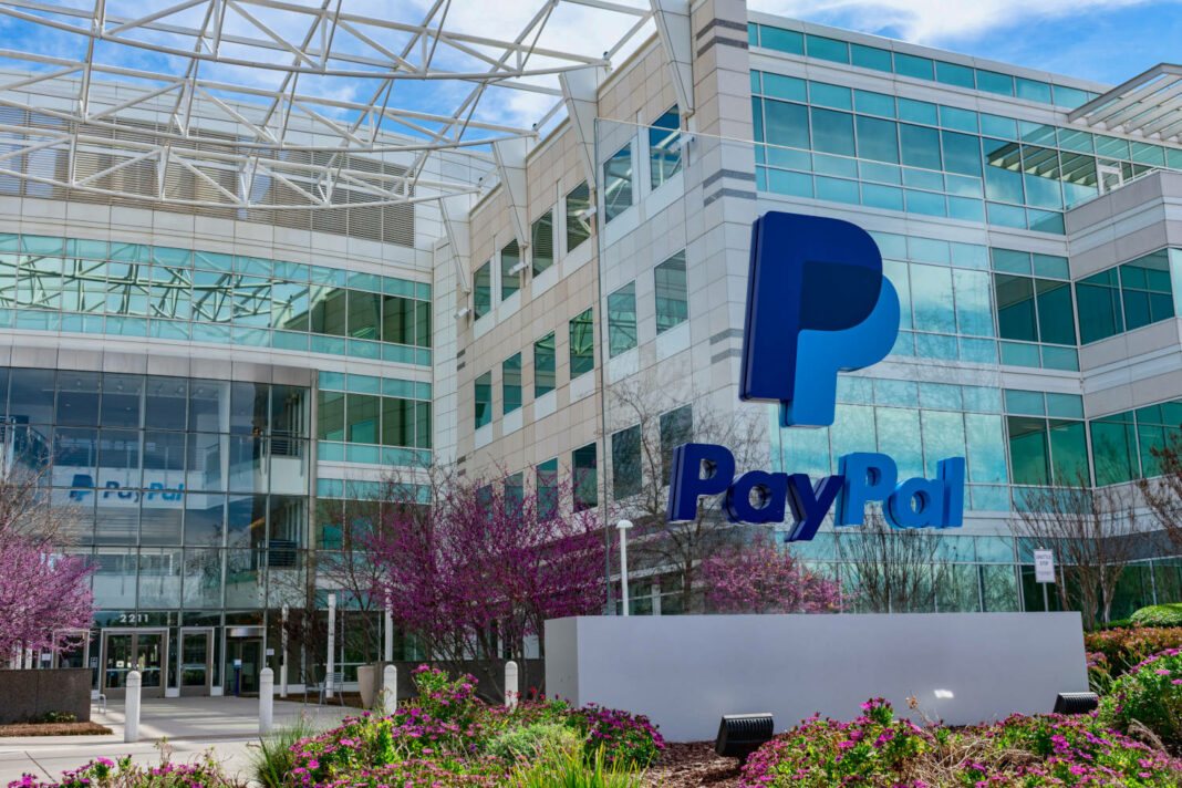PayPal sign in front of PayPal Holdings headquarters building