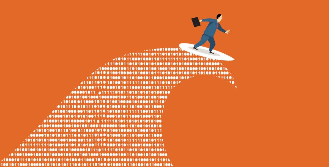 Businessman riding binary data wave