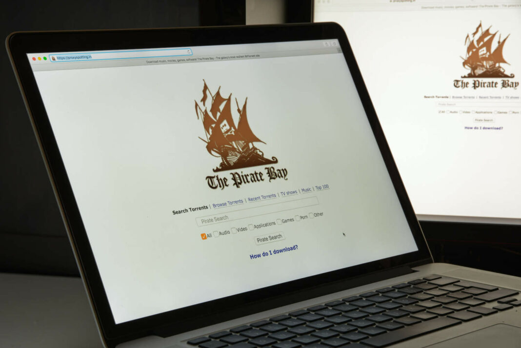 The Pirate Bay website opened on laptop