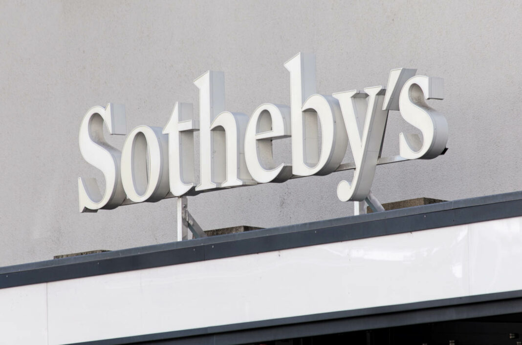 Sign over the entrance to the Sotheby's office in Zurich, Switzerland