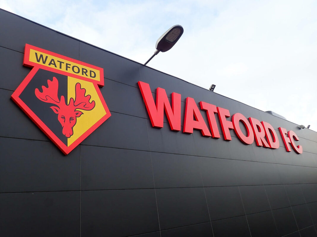 Side wall of Watford Football Club