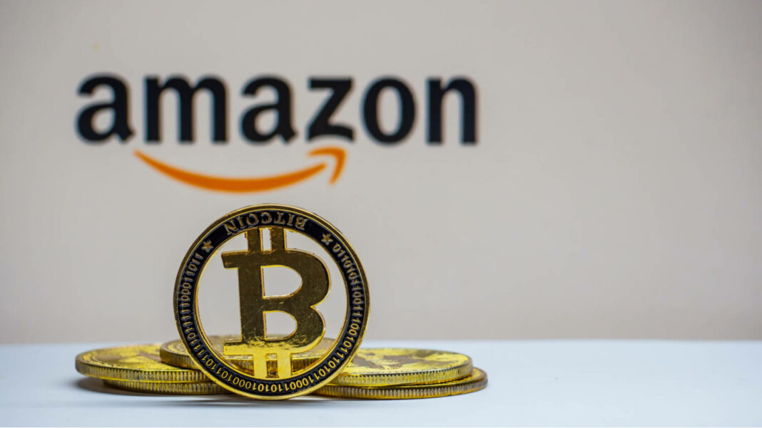 Bitcoin with Amazon logo