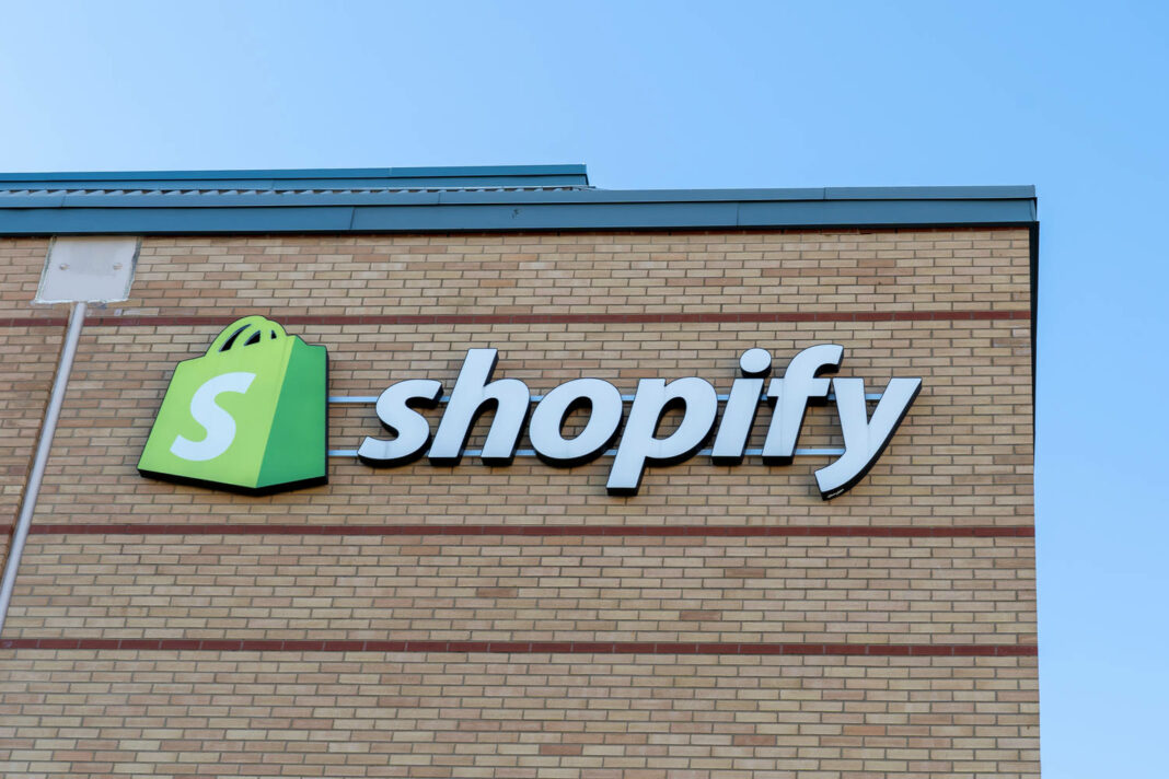 Shopify sign on office building in Waterloo