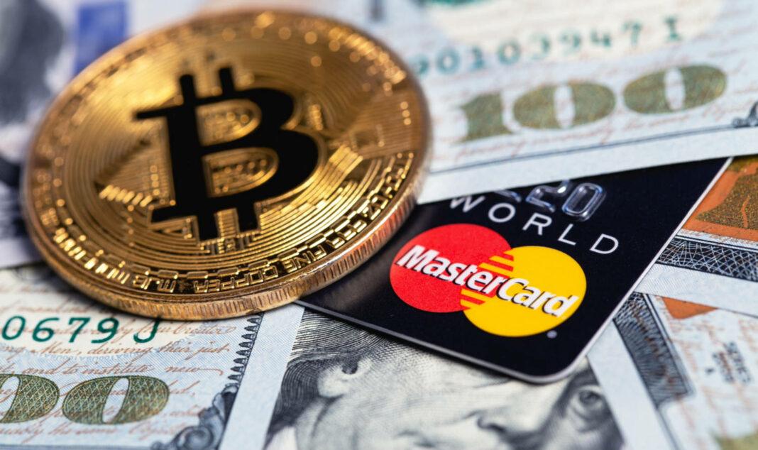 Bitcoin with MasterCard card and dollars