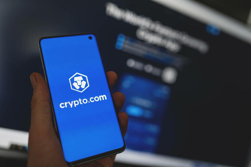 Smartphone with Crypto.com app logo