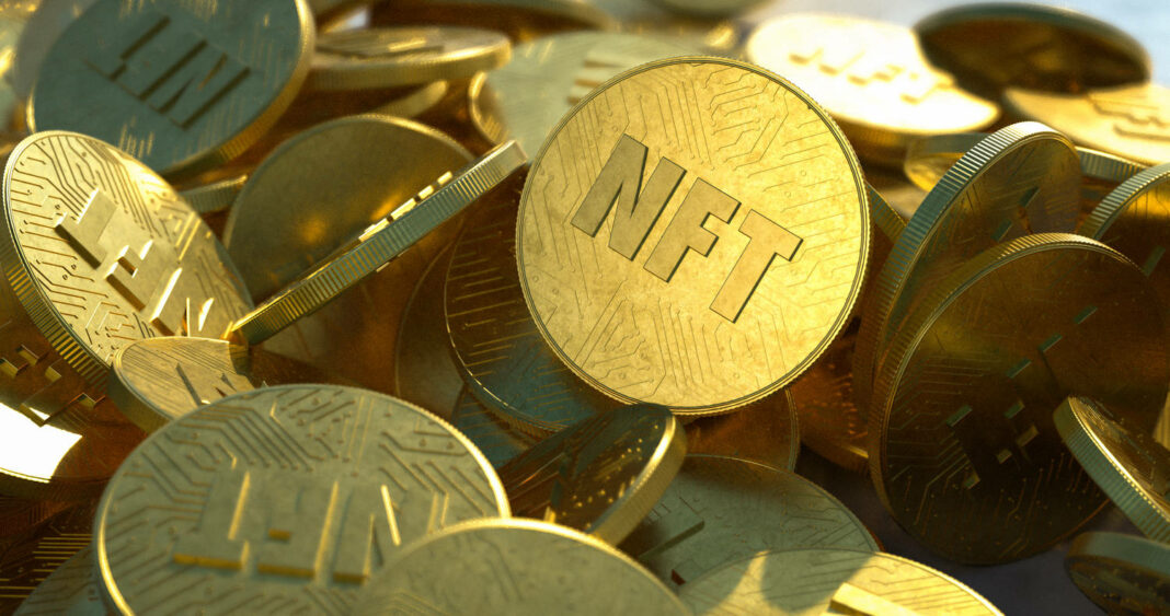 NFT golden coins in pile