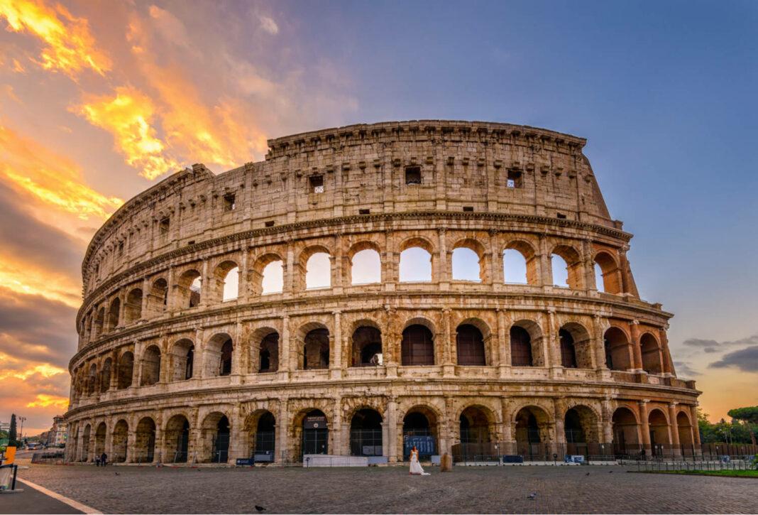 Sunrise view of Colosseum in Rome