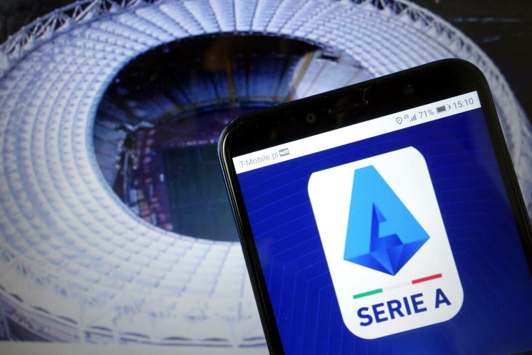 Serie A logo displayed on mobile phone