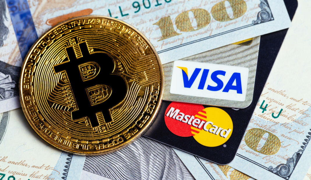Bitcoin cryptocurrency and Visa, MasterCard cards