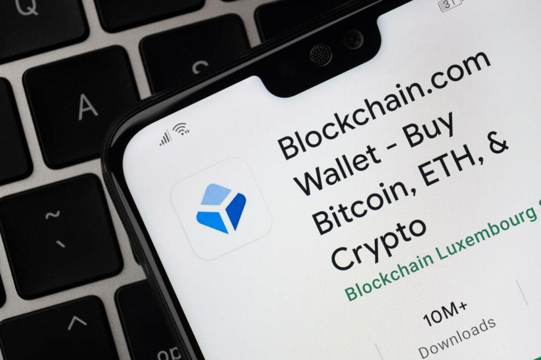 Blockchain.com app seen on the screen