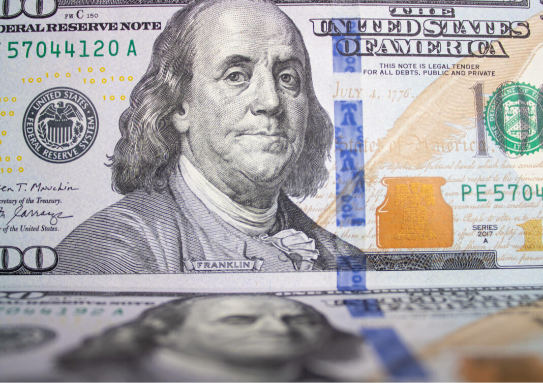 Banknote of one hundred American dollars