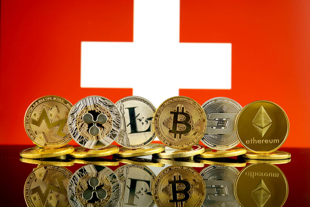 Physical version of Cryptocurrencies and Switzerland Flag