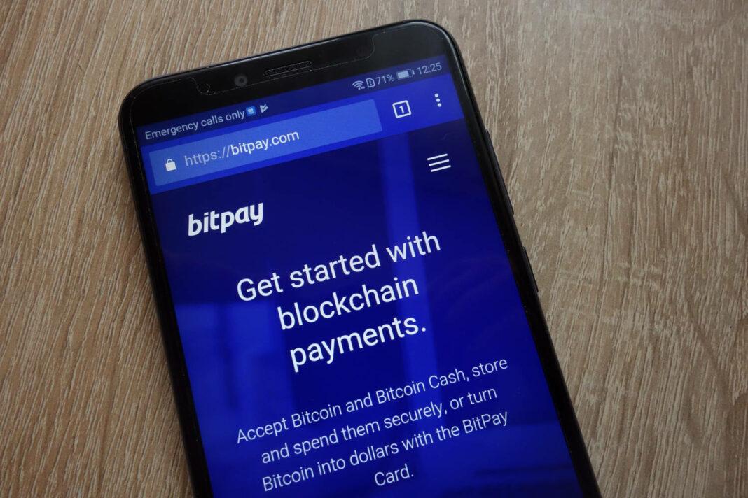 BitPay website displayed on a modern smartphone