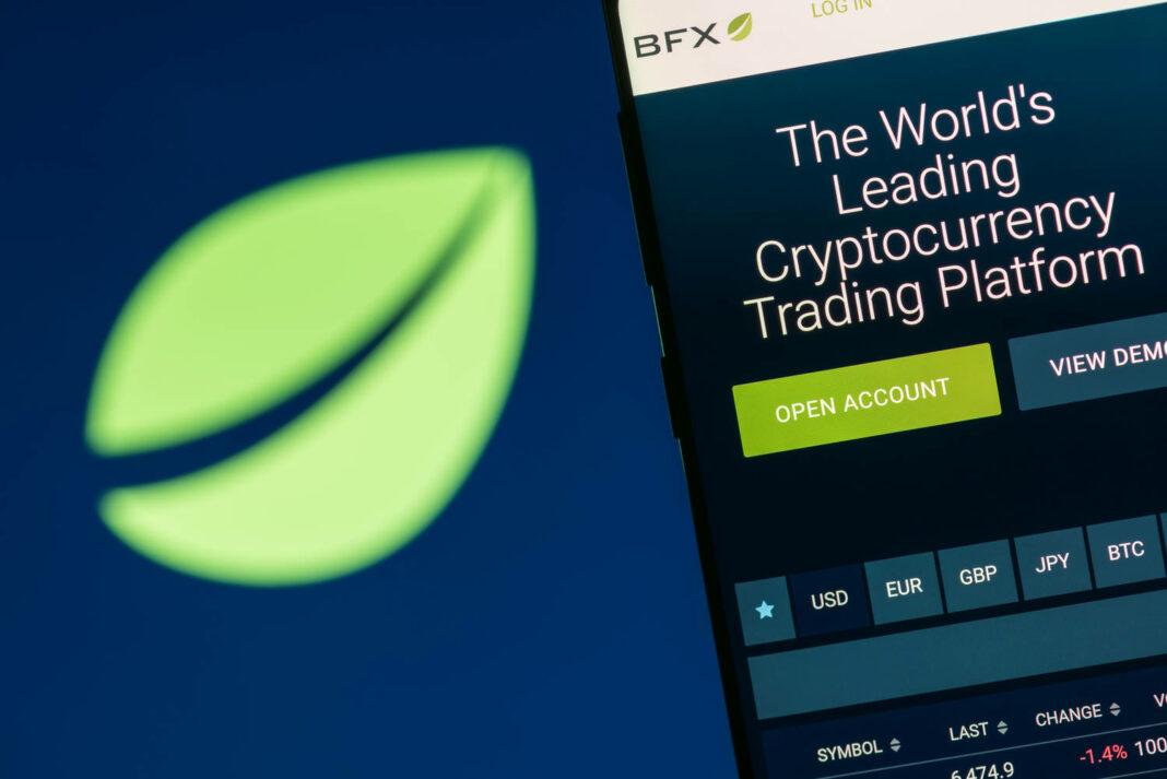 Bitfinex website displayed on the smartphone screen