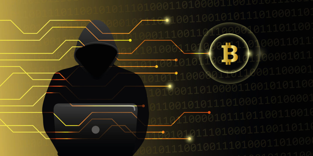 hacker attack on bitcoins crypto currency web cyber crime vector