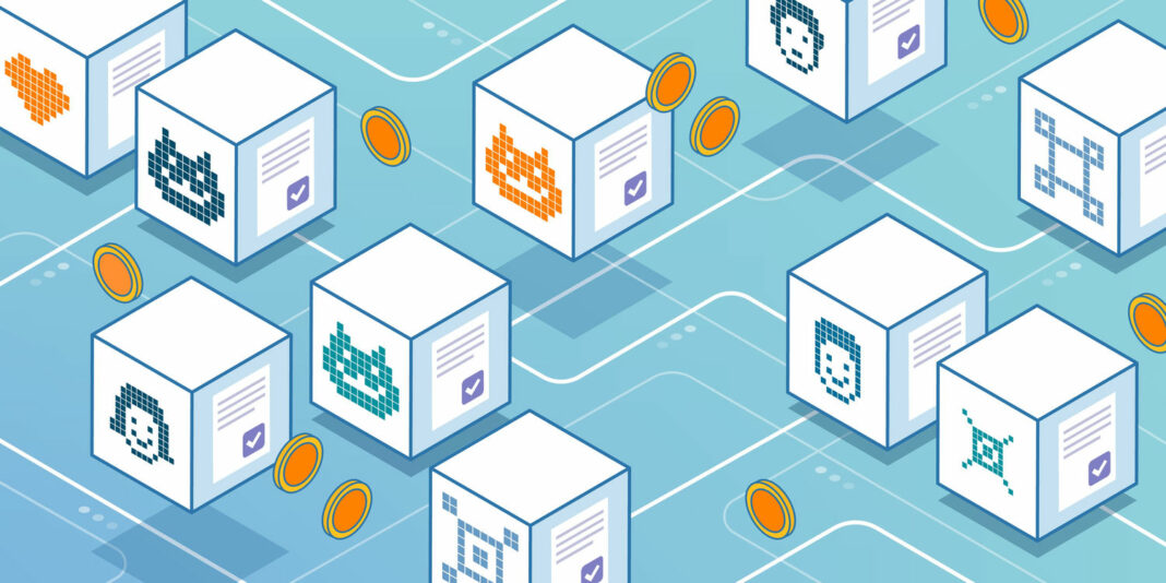 NFT cryptoart and code on virtual blocks