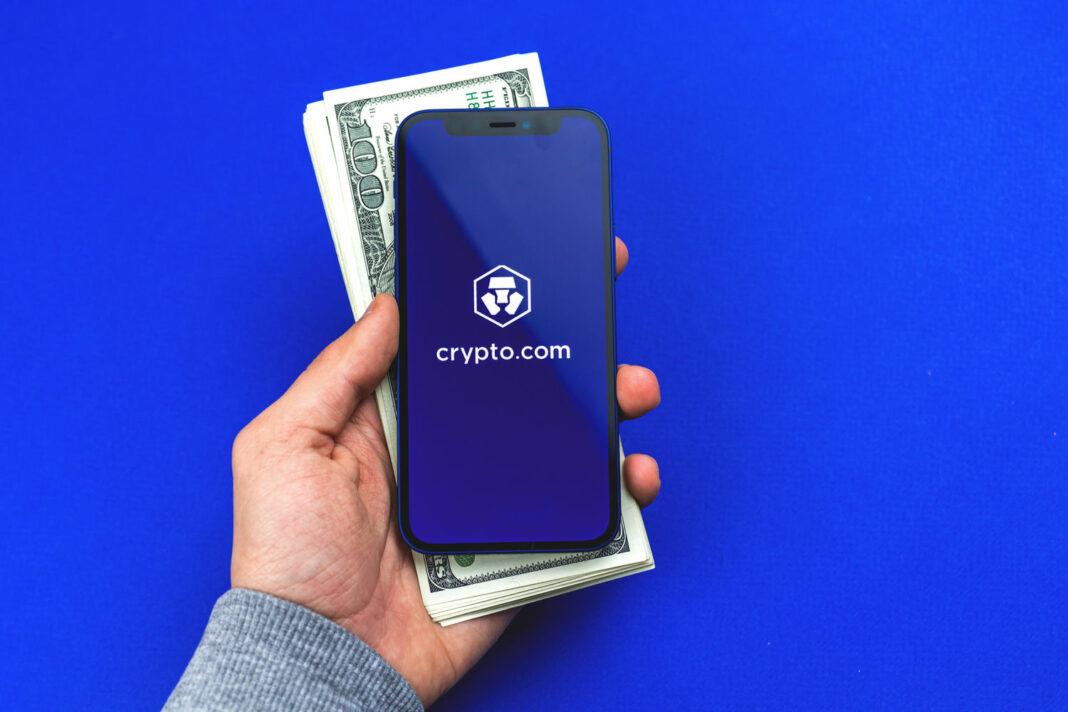 crypto.com logo above dollars