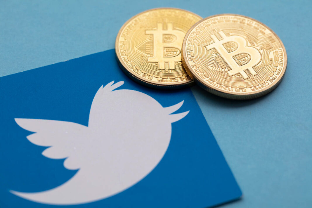 Bitcoin cryptocurrency on a Twitter social media logo
