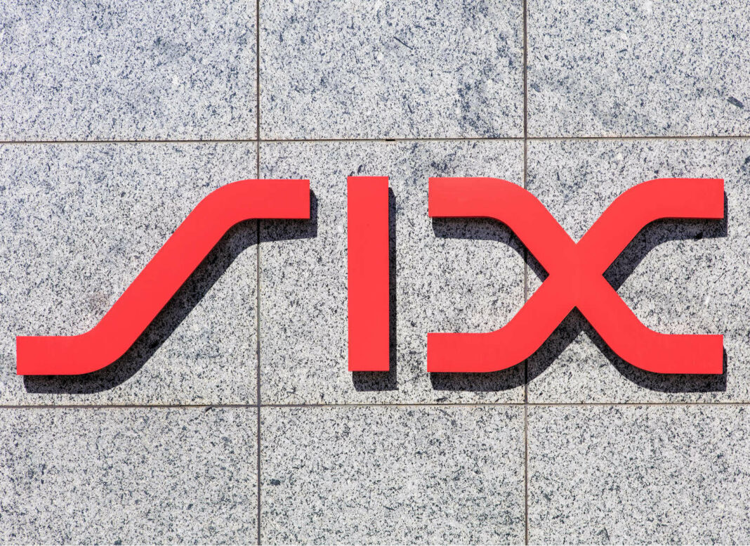 sign on the wall of the SIX Swiss Exchange building