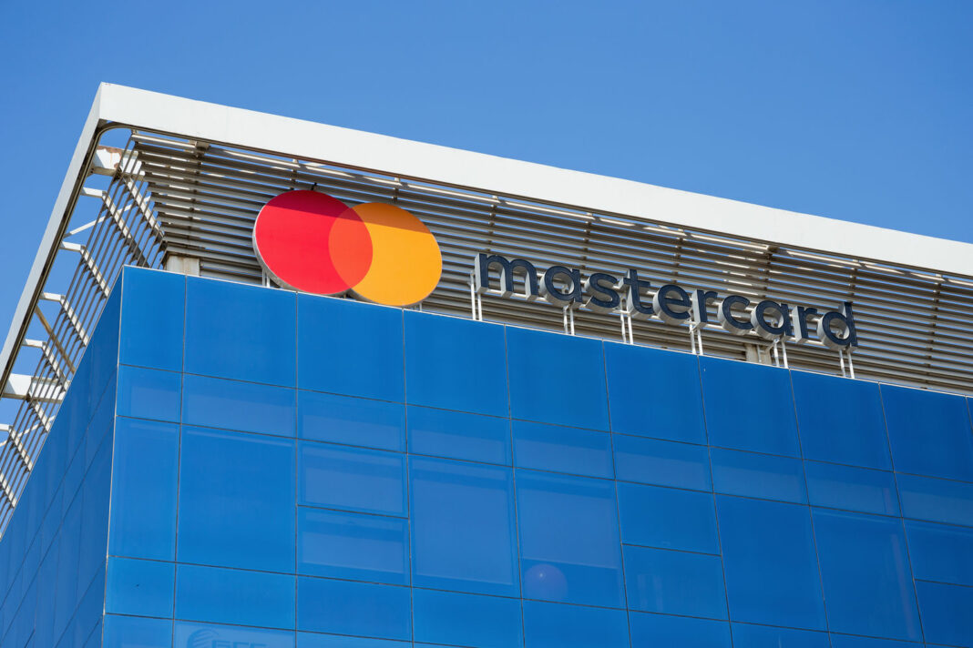 Sign of mastercard on the office building