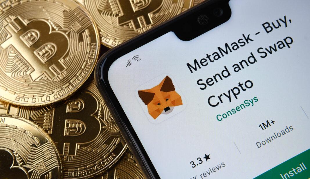 MetaMask app seen on the smartphone screen